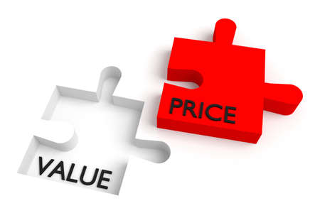 missing puzzle piece: Missing puzzle piece, value and price, red Stock Photo