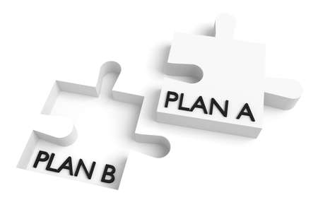 missing puzzle piece: Missing puzzle piece, plan a, plan b, white Stock Photo