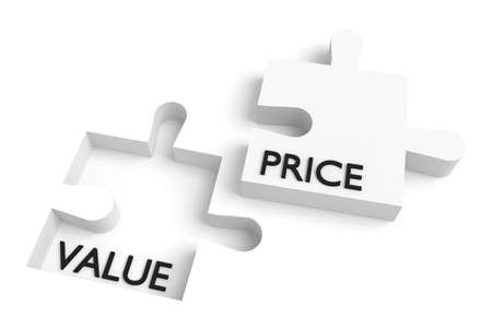 Missing puzzle piece, value and price, white