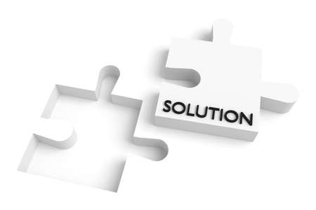 missing puzzle piece: Missing puzzle piece, solution, white Stock Photo