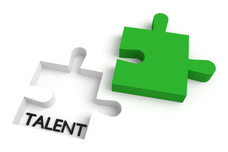 missing: Missing puzzle piece, talent, green Stock Photo