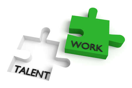 missing puzzle piece: Missing puzzle piece, talent and work, green Stock Photo
