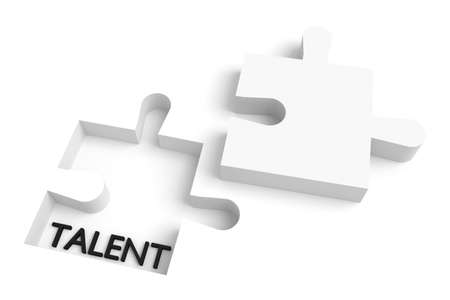 missing: Missing puzzle piece, talent, white Stock Photo