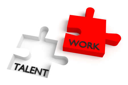 missing puzzle piece: Missing puzzle piece, talent and work, red Stock Photo