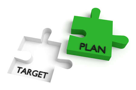 missing: Missing puzzle piece, target and plan, green