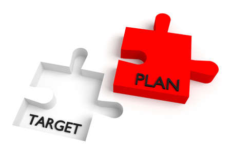missing: Missing puzzle piece, target and plan, red Stock Photo