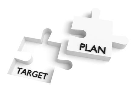 missing puzzle piece: Missing puzzle piece, target and plan, white Stock Photo