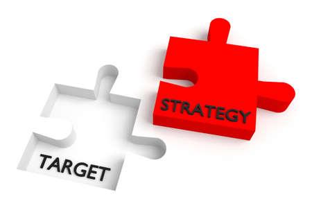 Ontbrekende puzzelstukje, strategie en doel, red Stockfoto