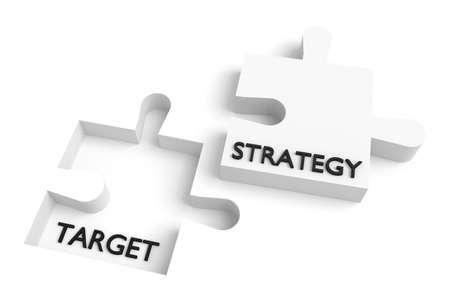 Ontbrekende puzzelstukje, strategie en doel, wit Stockfoto