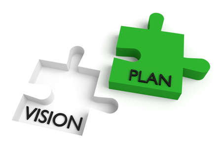 missing puzzle piece: Missing puzzle piece, vision and plan, green Stock Photo