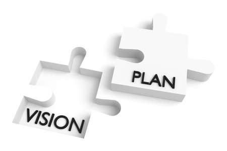 fulfill: Missing puzzle piece, vision and plan, white