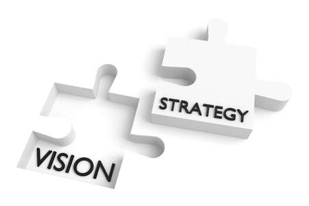 missing puzzle piece: Missing puzzle piece, vision and strategy, white Stock Photo
