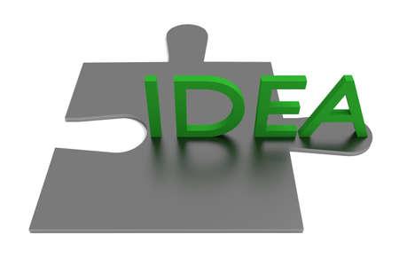 piece: Puzzle piece, idea, green Stock Photo
