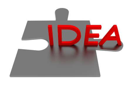piece: Puzzle piece, idea, red Stock Photo