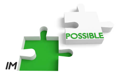 possible: Puzzle piece, impossible or possible, green Stock Photo