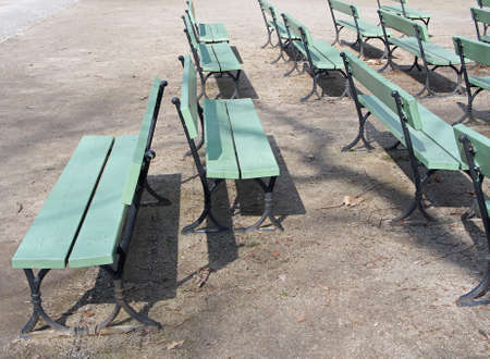 outsider: Wooden Benches, a different point of view Stock Photo