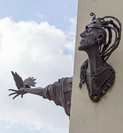 gora: sculpture at townhall square, Jelenia Gora, Poland