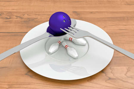 food plate: bowling food - bowling ball with pins, spoon, fork and plate, 3d illustration