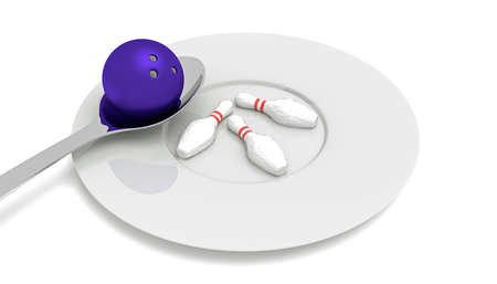 food plate: bowling food - bowling ball with pins, spoon and plate, 3d illustration