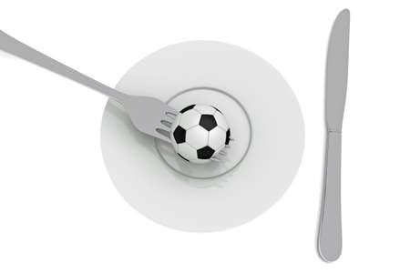 food plate: Soccer as food: football, plate and cutlery, 3d illustration