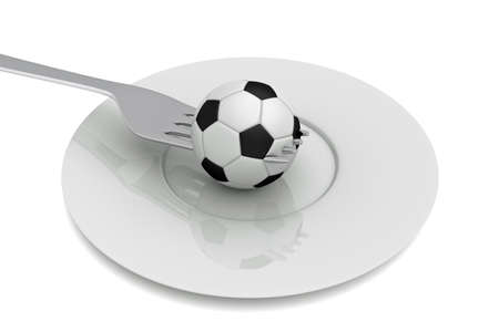 food plate: Soccer as food: football, fork and plate, 3d illustration Stock Photo