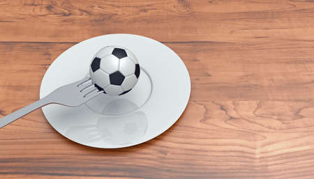 food plate: Soccer as food: football, fork and plate on a wooden table, 3d illustration