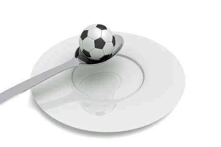 food plate: Soccer as food: football, spoon and plate, 3d illustration Stock Photo