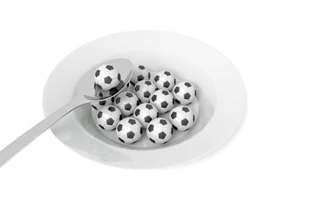 food plate: Soccer food - balls on a deep plate on a white background, 3d illustration