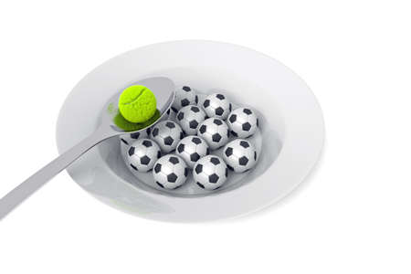 food plate: Soccer and tennis food - balls on a deep plate on a white background, 3d illustration