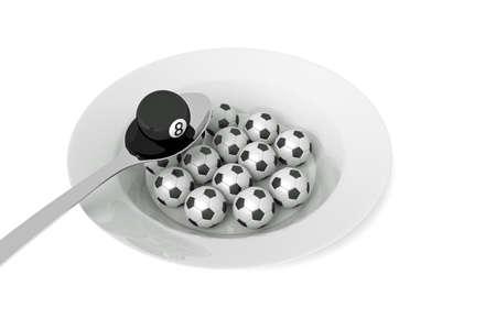 billiard ball: Billiards food: billiard ball and soccer balls with spoon, 3d illustration