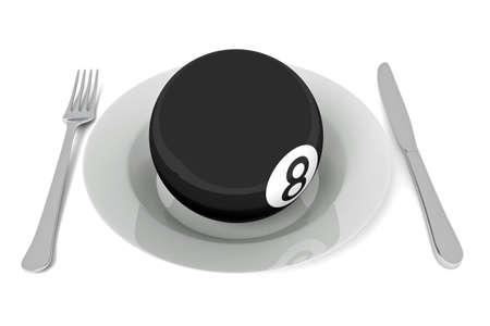 billiard ball: Billiards food: billiard ball with cutlery, 3d illustration Stock Photo