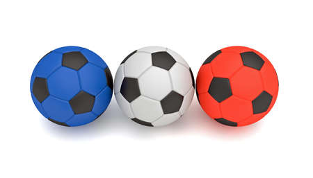 french flag: French flag, Tricolor soccer balls, 3d illustration