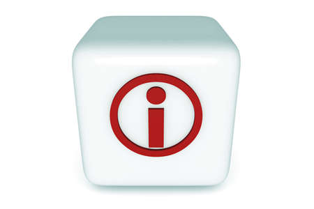 icon 3d: Information Cube, red icon, 3d illustration