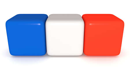 french flag: French flag, Tricolor cubes, 3d illustration