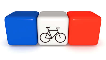 cycle race: French flag, Tricolor cubes with bicycle, 3d illustration Stock Photo