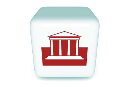 sights: Sights and museum cube, red, 3d illustration Stock Photo