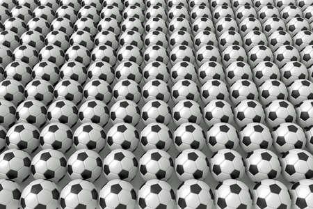 たくさんサッカー ボール、3 d イラストレーション 写真素材