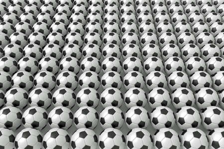 uniformity: So many soccer balls, 3d illustration Stock Photo