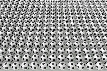 uniformity: So many soccer balls, 3d illustration Stock Photo