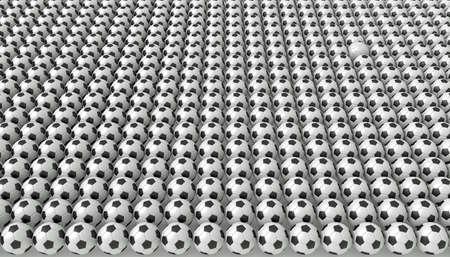 たくさんのサッカー ボール、1 つの白、3 d イラストレーション