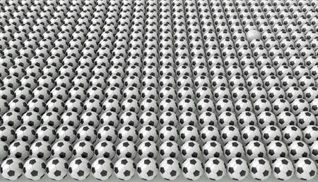 uniformity: So many soccer balls, one white, 3d illustration