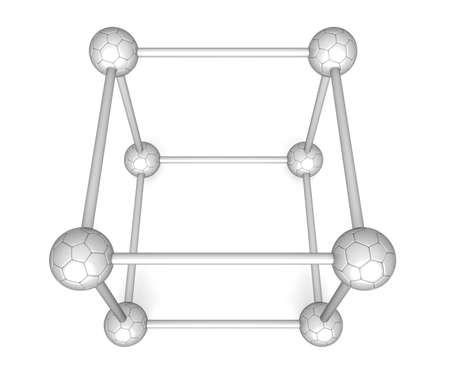 brushed aluminium: Cube system - brushed aluminium soccer balls, 3d illustration