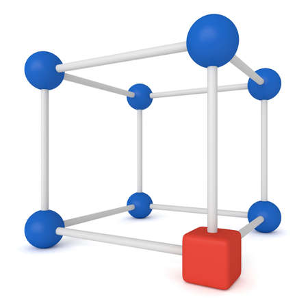 red cube: Cube system - blue spheres and red cube, 3d illustration Stock Photo