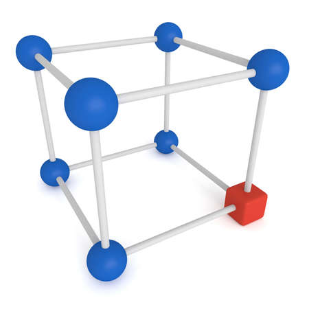 red cube: Cube system -blue spheres and red cube, 3d illustration