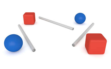 disconnection: disconnection - blue spheres and red cubes, 3d illustration