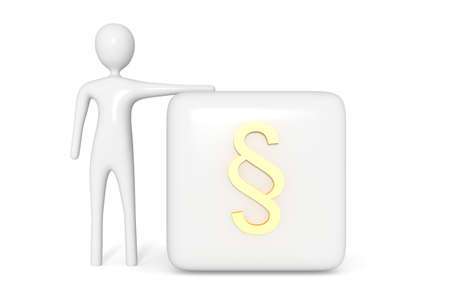 justness: Law: cube with golden section sign with white 3d man, 3d illustration Stock Photo