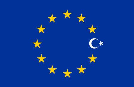 pacto: Collage: bandera de Turquía y la bandera de Europa, Unión Europea (UE)