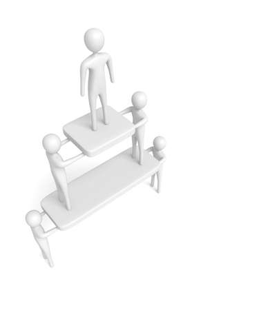 cooperate: Teamwork: Pyramid with white 3d men, 3d illustration
