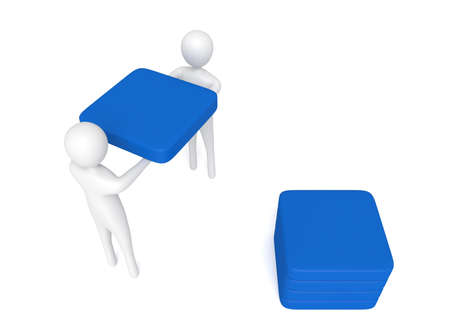 cooperate: Teamwork: 3d men carrying a blue cube, 3d illustration