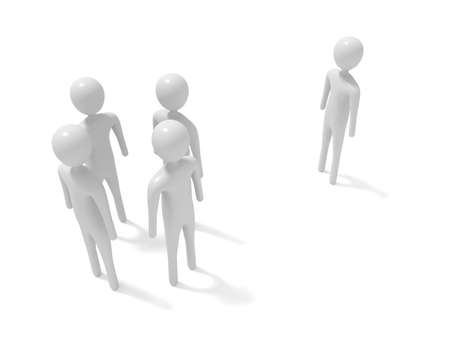 newcomer: Meeting: four white 3d men and one outsider, 3d illustration
